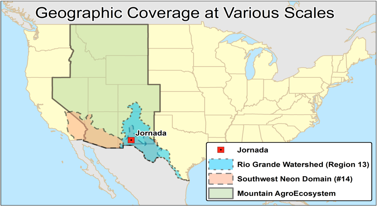 Jornada Location Relative To Important Geographic Regions Within The Us