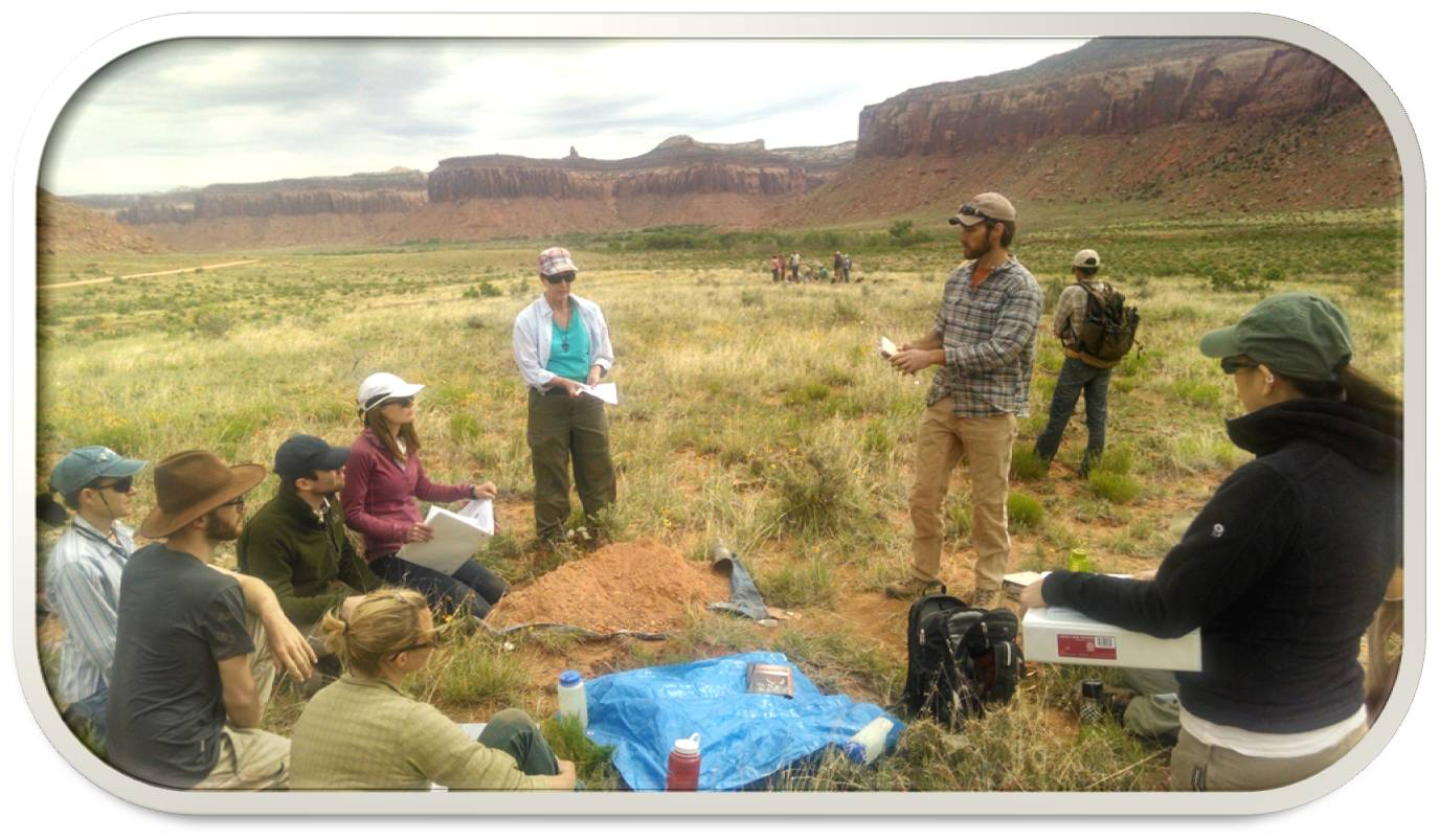 Field crews learning about ecological site identification at training The Jornada hosted at The Nature Conservancy's Canyonlands Research Center outside of Canyonlands National Park in Utah for the BLM's Assessment, Inventory, and Monitoring crews.